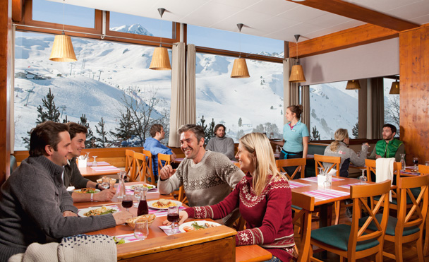 Restaurant with mountain view